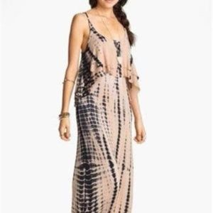 Mimi Chica Tie Dye Cutout Back Tiered Maxi Dress